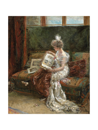 Leonie Garrido Looking at an Album of Prints Giclee Print by Eduardo-leon Garrido
