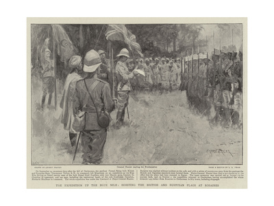 The Expedition Up the Blue Nile, Hoisting the British and Egyptian Flags at Rosaires Giclee Print by Ernest Prater