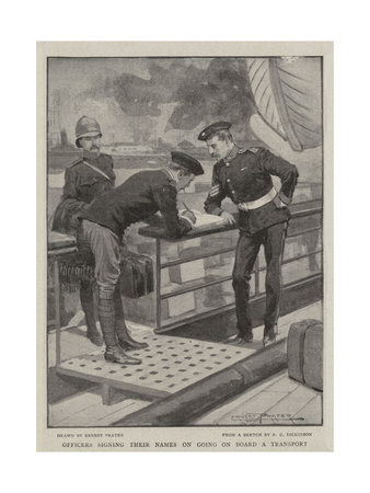 Officers Signing their Names on Going on Board a Transport Giclee Print by Ernest Prater
