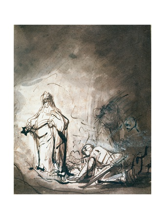Saul and the Witch of Endor Lámina giclée por Ferdinand Bol