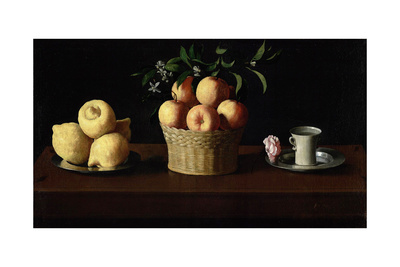 Still Life with Lemons, Oranges and a Rose, 1633 Giclee Print by Francisco de Zurbaran