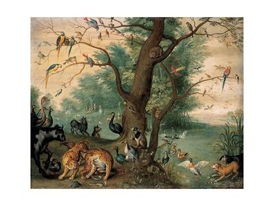 Animals and Birds in the Garden of Eden Giclee Print by Ferdinand van Kessel