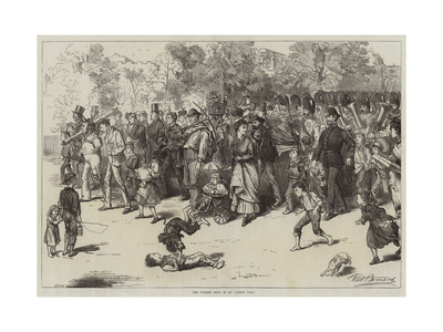 The Guards' Band in St James's Park Giclee Print by Frederick Barnard