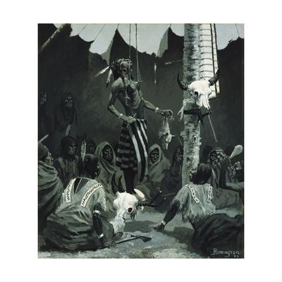 Mandan Initiation Ceremony (The Sundance), 1888 Giclee Print by Frederic Remington