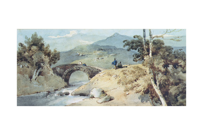 Chinese Landscape with Bridge Giclee Print by George Chinnery