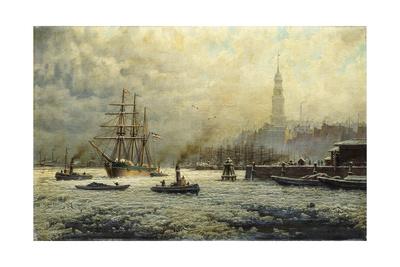 The Port of Hamburg, 1893 Giclee Print by Georg Schmitz