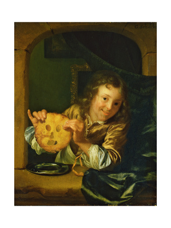 Boy with Pancakes Giclee Print by Godfried Schalcken