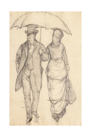 Man and Woman under an Umbrella (Study for Paris Street, Rainy Day), 1877 Giclee Print by Gustave Caillebotte