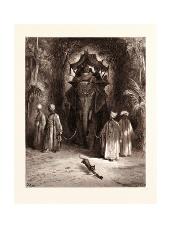 The Rat and the Elephant Giclee Print by Gustave Dore