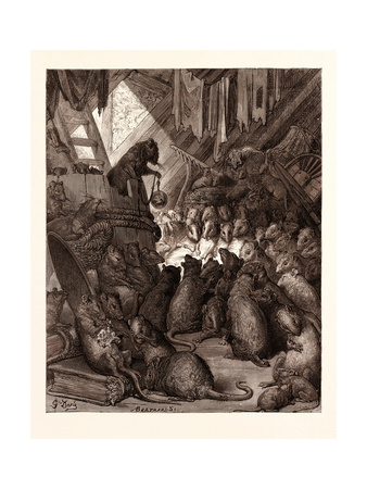 The Council Held by the Rats Giclee Print by Gustave Dore