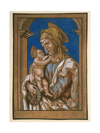 Madonna and Child under an Arch, 1508 (Woodcut, Overworked with Watercolour and Bodycolour) Giclee Print by Hans Burgkmair