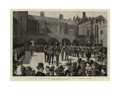 A Popular London Spectacle, Changing Guard at St James's Palace Giclee Print by Henry Gillard Glindoni