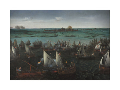 Battle Between Dutch and Spanish Ships on the Haarlemmermeer, C.1629 Giclée-Druck von Hendrick Cornelisz. Vroom