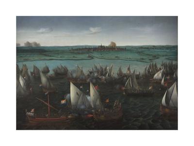 Battle Between Dutch and Spanish Ships on the Haarlemmermeer, C.1629 Giclee Print by Hendrick Cornelisz. Vroom