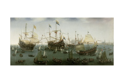The Return to Amsterdam of the Second Expedition to the East Indies, 1599 Giclée-Druck von Hendrick Cornelisz. Vroom