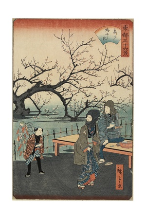 Plum Trees at Kameido, 1859-1862 Giclee Print by Hiroshige II