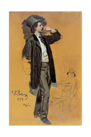 A Study for 'A Parisian Cafe' (1875): Gentleman Standing and Jean-Leon Gerome (1824-1904) Giclee Print by Ilya Efimovich Repin