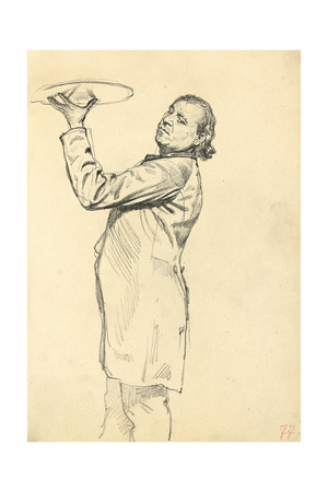 Study for 'A Parisian Cafe': a Waiter Holding Up a Tray, C. 1872-1875 Giclee Print by Ilya Efimovich Repin