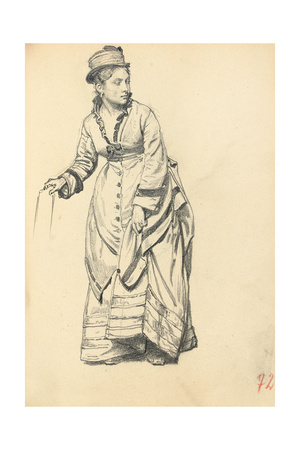 Standing Woman Holding Her Dress, C. 1872-1875 Giclee Print by Ilya Efimovich Repin