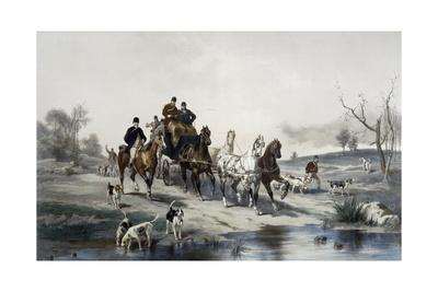 Hunting on Horseback, Return Giclee Print by James Walker