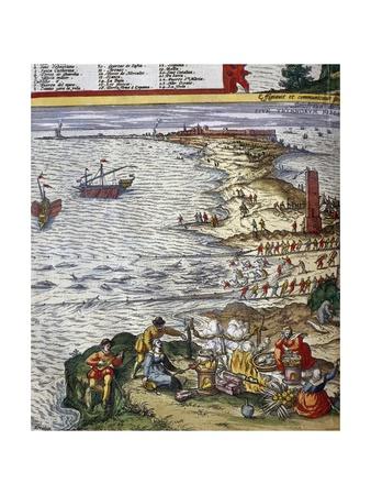 Fishing Scene and Preparing Fish at Port City of Cadiz Giclee Print by Jan Janssonius