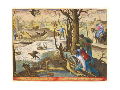 Birdcatchers Using Traps Baited with Rats to Capture Hawks Giclee Print by Jan van der Straet