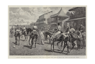 Ascot Races, Horses Passing the Royal Box on their Way to the Starting Post Giclee Print by John Charlton