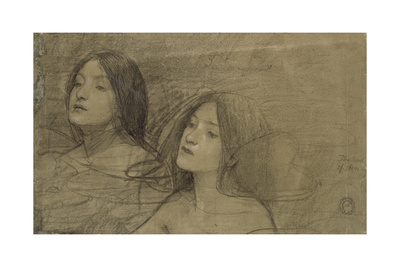 Study of Two Nymphs for 'Hylas and the Nymphs' Giclee Print by John William Waterhouse