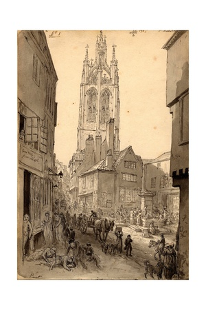 The Old Gin Shop Near St. Nicholas Church, Newcastle, 1805 (Pencil and Ink on Paper) Giclee Print by John Glover