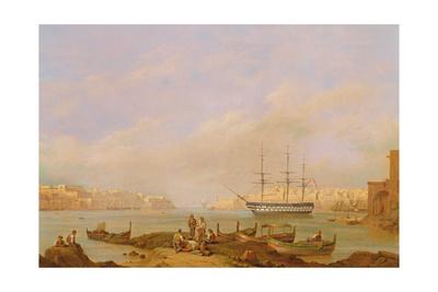 H.M.S. Brunswick at Anchor in Grand Harbour, Valletta, Malta Giclee Print by John Schranz