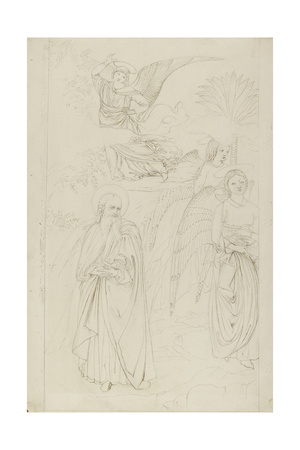 Drawing of Abraham Parting from the Angels from Benozzo Gozzoli's Story of Abraham and Hagar in the Giclee Print by John Ruskin