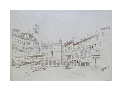 Study for Detail of the Piazza Delle Erbe Giclee Print by John Ruskin