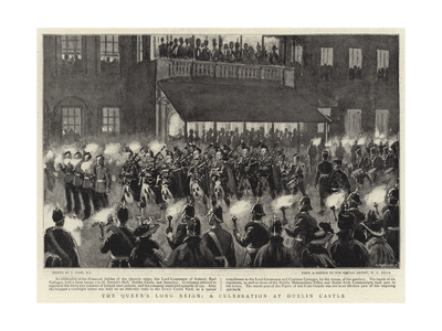 The Queen's Long Reign, a Celebration at Dublin Castle Giclee Print by Joseph Nash
