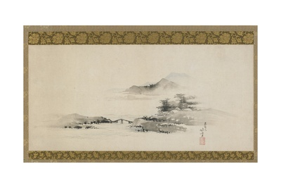Landscape, Edo Period, C.1801-02 (Ink and Colour on Paper Mounted as Hanging Scroll) Giclee Print by Katsushika Hokusai