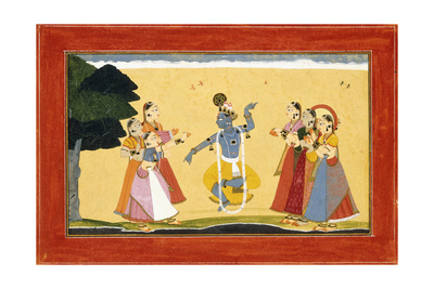 Krishna Dancing before the Cowgirls as They Clap their Hands, C.1730-1735 (W/C on Red Paper) Giclee Print by  Manaku