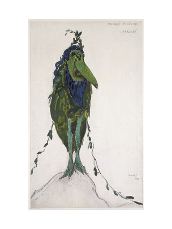 Costume Of'La Divinité Mineure ' for 'Narcisse', 1911 (Bodycolour and Graphite on White Wove Paper) Giclee Print by Leon Bakst