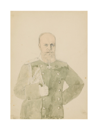 Portrait of Emperor Alexander III (1845-1894) (Pencil and W/C on Paper) Giclee Print by Mihaly von Zichy