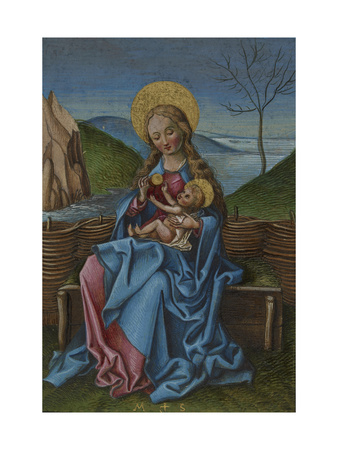 The Virgin and Child on a Grassy Bench Giclee Print by Martin Schongauer