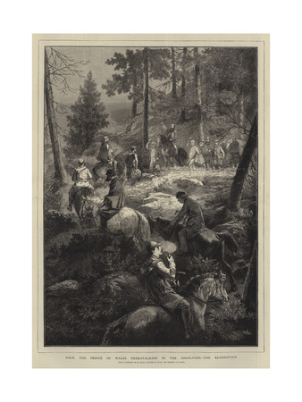 Hrh the Prince of Wales Deer-Stalking in the Highlands, the Rendezvous Giclee Print by Mihaly von Zichy