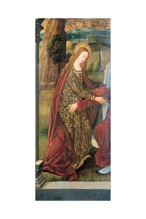 The Visitation - a Wing of an Altarpiece, a Fragment (Oil on Gold Ground Panel) Giclée-tryk af Pedro Berruguete