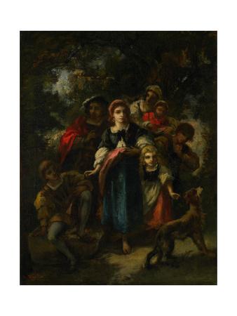 Children in a Wood Giclee Print by Narcisse Virgile Diaz de la Pena