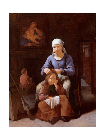 A Woman Grooming Her Child's Hair Giclee Print by Michael Sweerts