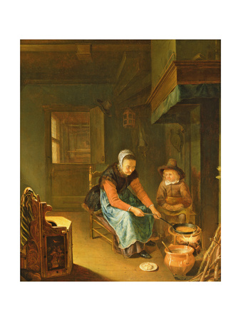 An Interior with a Woman Cooking Pancakes with a Young Boy before a Hearth Giclee Print by Pieter van Slingelandt