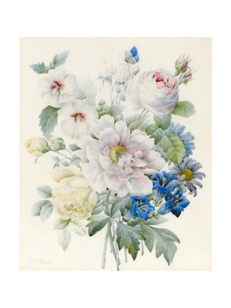 A Bunch of Flowers Including a Peony Giclee Print by Pierre Joseph Redoute