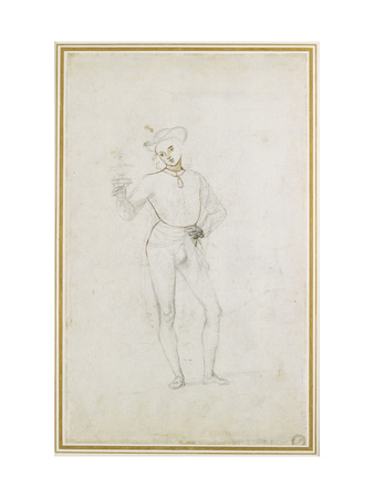 A Study for a Figure in an Adoration of the Magi (Black Chalk with Pen and Brown Ink on White Paper Giclee Print by Pietro Perugino