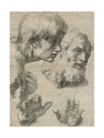 Studies of the Heads of Two Apostles and of their Hands Giclee Print by  Raphael
