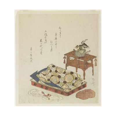 Folded Court Robe and a Hat with Tiger Ornament Giclee Print by Ryuryukyo Shinsai