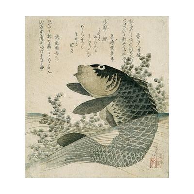 Carp Among Pond Plants, C.1800 Giclee Print by Ryuryukyo Shinsai