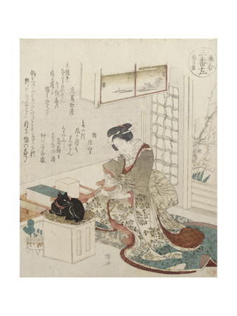 A Girl with Two Cats Giclee Print by Ryuryukyo Shinsai