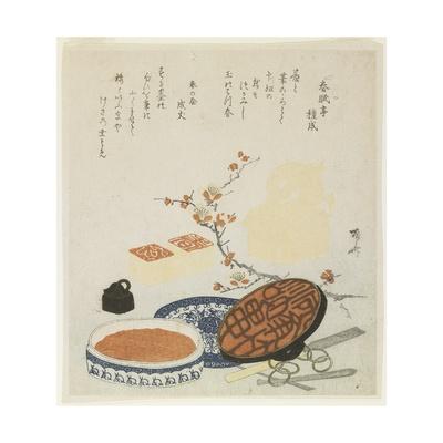 Seals, Carving Tools, Porcelain Ink Box and Plum Branch, 1820 Giclee Print by Ryuryukyo Shinsai